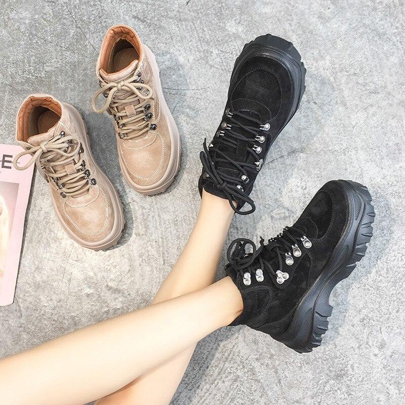 Moda Khaki Cuero Cruzadas Mujer Remaches Zapatos negro Lady De Negro Tobillo Botas Otoño Martin Real Footware Chausure Fósforo Todo wCHEBq