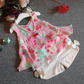 2017 summer Korean toddler girl kids clothing print chiffon top + Shorts suit 2 piece Set for girls children casual clothes sets