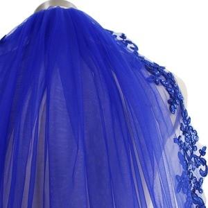 Image 2 - 100% Real Photo Blue Sequins Lace Edge Short Wedding Veil Gorgeous Single Layer Bridal Veil with Comb Velos de Novia