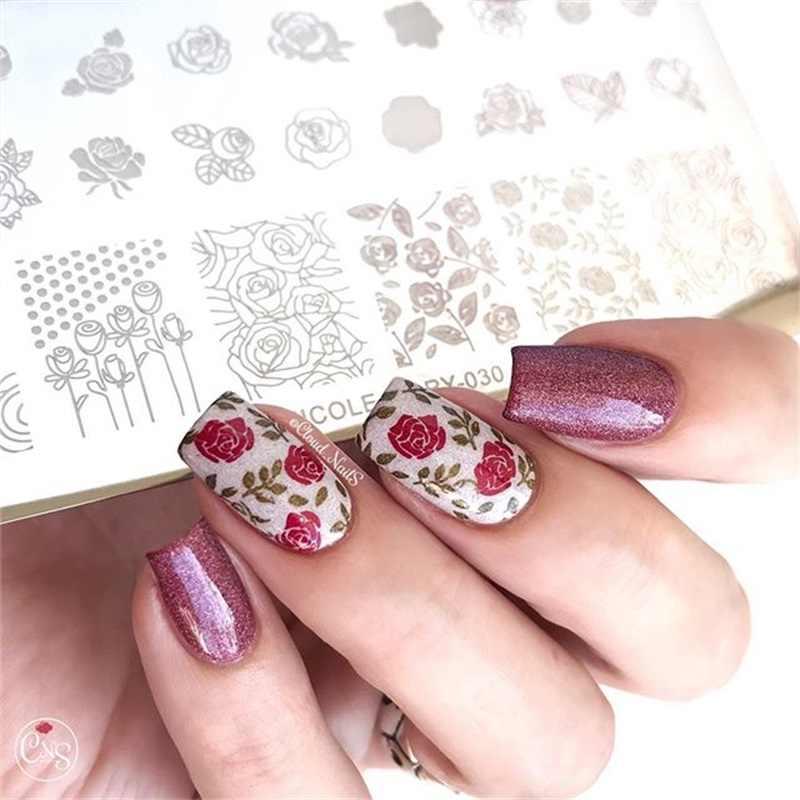 NICOLE Buku Harian Renda Bunga Hewan Kuku Stamping Piring Marmer Gambar Cap Template Geometris Cetak Percetakan Alat