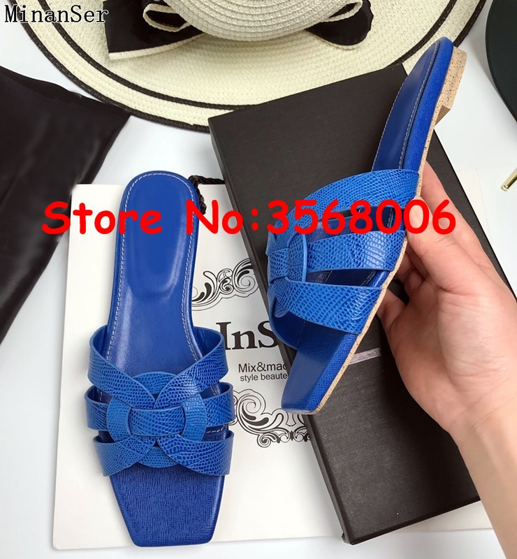 Gladiator Summer open toe beach slipper shoes tribute fashion outdoor crocodile leather slides shoes woman flats