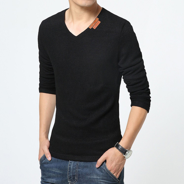 4116f9127c5 2015 unique hollow knitted T shirts summer Mens shirt solid male long  sleeved t shirt men v neck mens plus size t shirts 5xl 6xl-in T-Shirts from  Men s ...