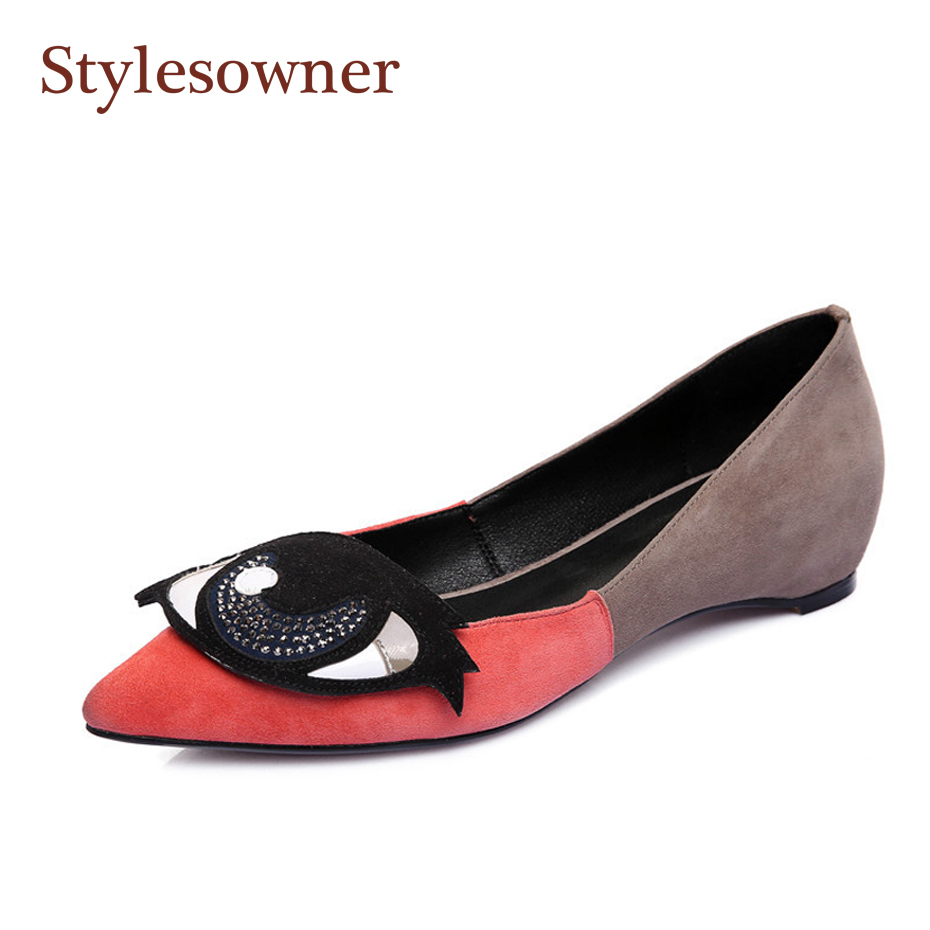 Stylesowner Outdoor Lady Shallow Mouth Flat Shoe Color Match Diamond Big Eyes Decoration Slip On Lazy Shoe Suede Leather SapatosStylesowner Outdoor Lady Shallow Mouth Flat Shoe Color Match Diamond Big Eyes Decoration Slip On Lazy Shoe Suede Leather Sapatos