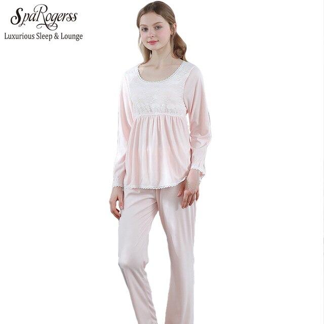 34913693736f6 Les femmes Pyjama Ensemble Vintage Royal Ensemble de vêtements de Nuit Doux Pyjamas  Femme Couleur Unie