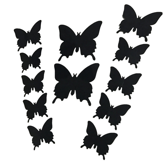 3D three-dimensional wall stickers butterfly wall sticker wedding photography props 12 suit home decoration