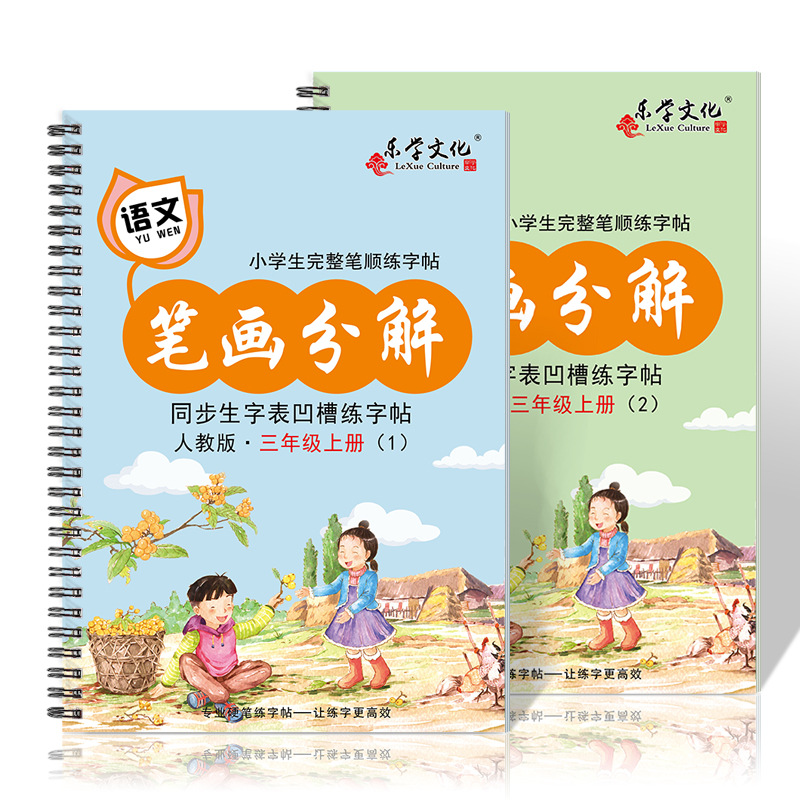 New 2pcs/set Pupils Third Grader Chinese Order Of Strokes Calligraphy Copybook Groove Copybook Writing For Beginner Libros