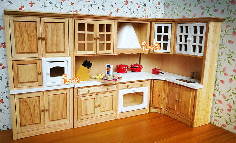 Doll House Miniatures DIY 1:12 Dollhouse decoration accessories Toys Wooden furniture Wooden-color integrated kitchen toys