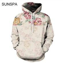 SUNSPA 2017 Flowers Hoodies Men/Women 3d Sweatshirts Digital Print Rosa Roses Floral Hooded Hoodies Brand Hoody Tops