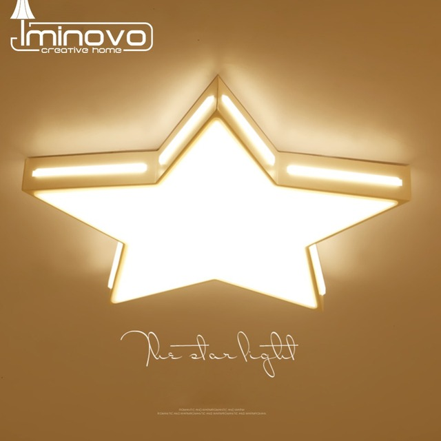 LED Ceiling Light Wooden Star Panel Lamp Remote Control Surface ...