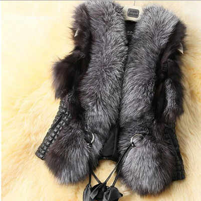 2019  faux fur coat Raccoon fur collar vest short paragraph vest Leather Big imitation sheep skin Women Fur Coat Fur Vest V537