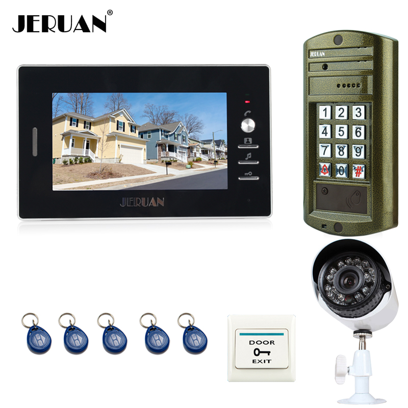 JERUAN 7 inch Video Intercom Door Phone System kit Metal panel waterproof password keypad HD Mini Camera + 700TVL Analog Camera jeruan 8 inch video door phone high definition mini camera metal panel with video recording and photo storage function