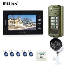 JERUAN 7 inch Video Intercom Door Phone System kit Metal panel waterproof password keypad HD Mini Camera + 700TVL Analog Camera