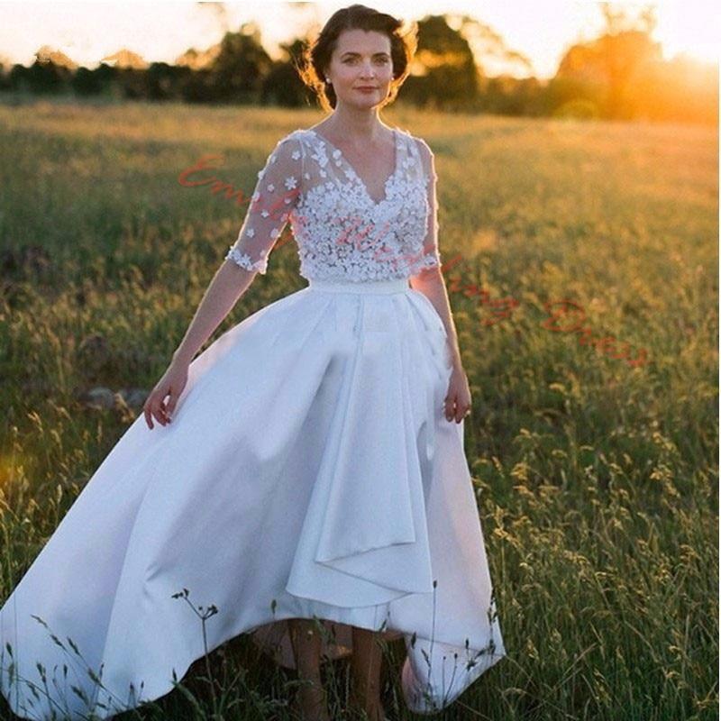 Fantasy Short Front Long Back Wedding Dress Summer Boho 3D