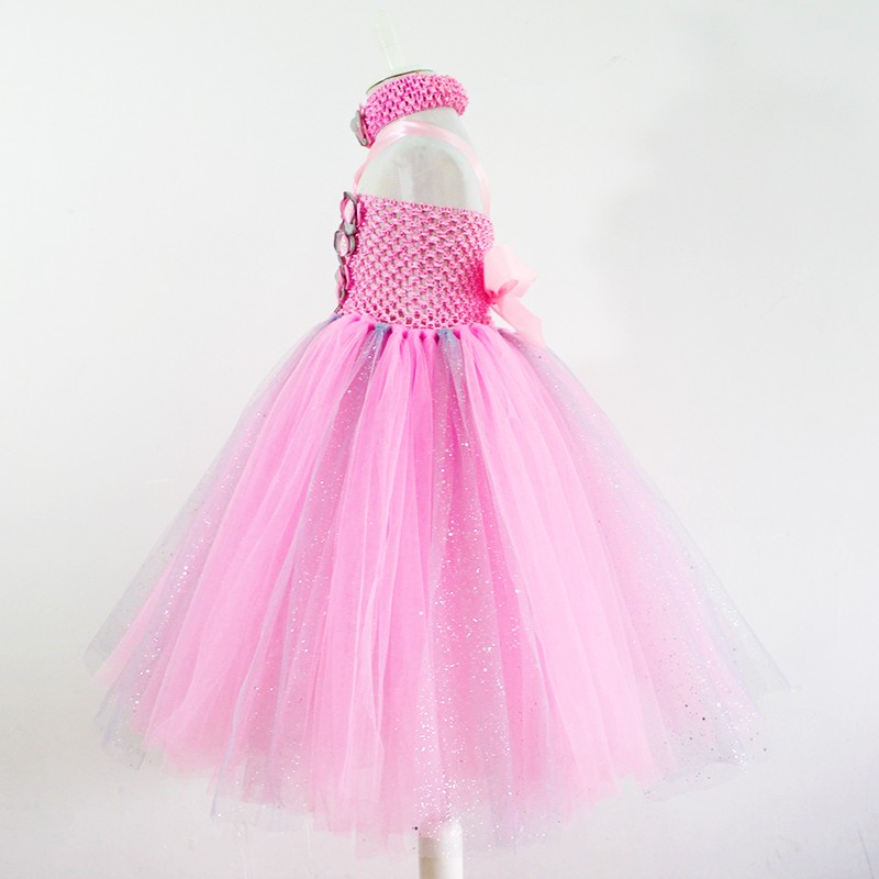 d36565ab2 pink flower sequin Girl Dresses grey Pink Champagne Cute Girl Tutu ...