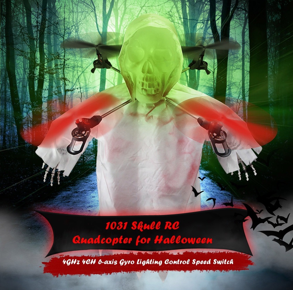 цены  New Arrival Halloween Gift 1031 Skull RC Quadcopter 2.4GHz 4CH 6-axis Gyro Lighting Control 360 Degrees Spin Funny Tricks Toy