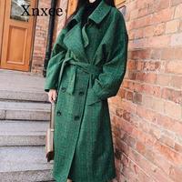 Xnxee 2019 Fashion Autumn Double Breasted Notch Casual Loose Big Size Long Type Green Plaid Women Woolen Coat