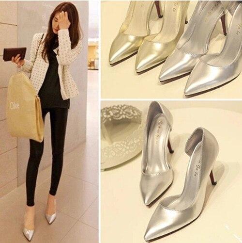 2016 новая мода побочные пустые указывали золотые Женщин свадебные туфли сексуальные тонкие высокие каблуки Женская обувь насосы