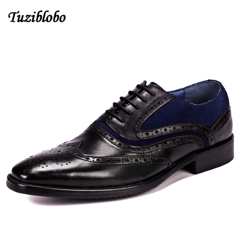 Men Leather Shoes Business Genuine Leather Dress Shoes Hand Carved Flower Cusp Head British Style Casual Leather Shoes
