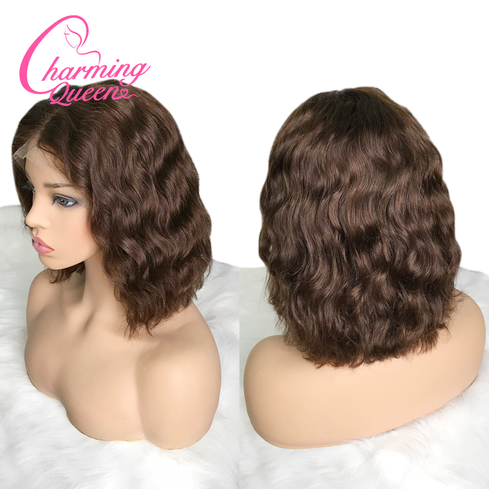 Charming Queen Lace Front Human Hair Wigs For Black Women Pre Plucked Brazilian Remy Hair Wavy