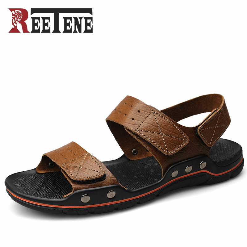 REETENE Plus Size 45 46 47 48 Genuine Leather Men Sandals Peep Toe Summer Men Shoes New 2017 Designer Male Sandalias Beach Shoes 2016 new summer men shoes plus size genuine leather casual shoes men fashion suede breathable sandals for men 45 46 47 48
