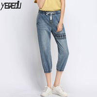 #2010 Summer 2019 Embroidery Elastic Waist Embroidery Jeans For Woman Loose Plus Size L 5XL Thin Jeans Feminino Stretch Denim
