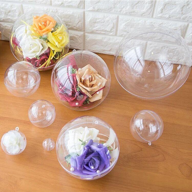 50 ピース 12 センチクリスマストレス装飾ボール透明オープンプラスチッククリア安物の宝石装飾ギフトプレゼントボックス結婚式の装飾  グループ上の ホーム&ガーデン からの 装飾ボール の中 1
