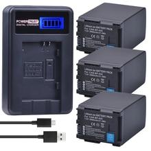 3 Unids 7.4 V BP-828 BP 828 Batería de La Cámara + LCD BP828 Cargador USB para Canon HG20 VIXIA HF20 GX10 HFS30 G30 G40 XA20 XA25 HFM300