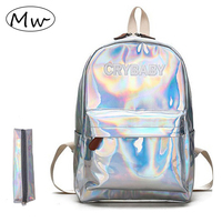 Moon Wood Fashion Holographic Laser Backpack Silver Pink Embroidered Crybaby Letters Hologram Backpack Girls School Bag