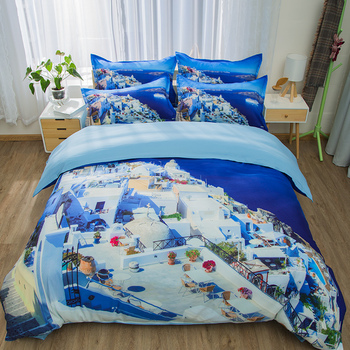 Seaside scenery bedding sets 3pcs blue quilt cover soft duvet cover pillow cases soft Modern fashion style home textile