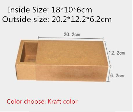 20pcs/lot-18*10*6cm Blank Kraft Drawer Box Handmade Soap Gift Craft Jewel Macaron Packaging Party Gift Brown Paper Boxes