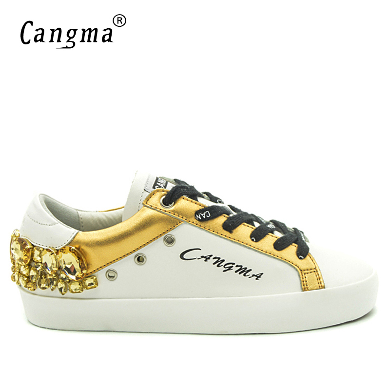 CANGMA Original Brand Gold White Vintage Woman Shoes Diamond Genuine Leather Sneakers Flats Bass Scarpa Women Shoes Crystal-in Women's Flats from Shoes    2