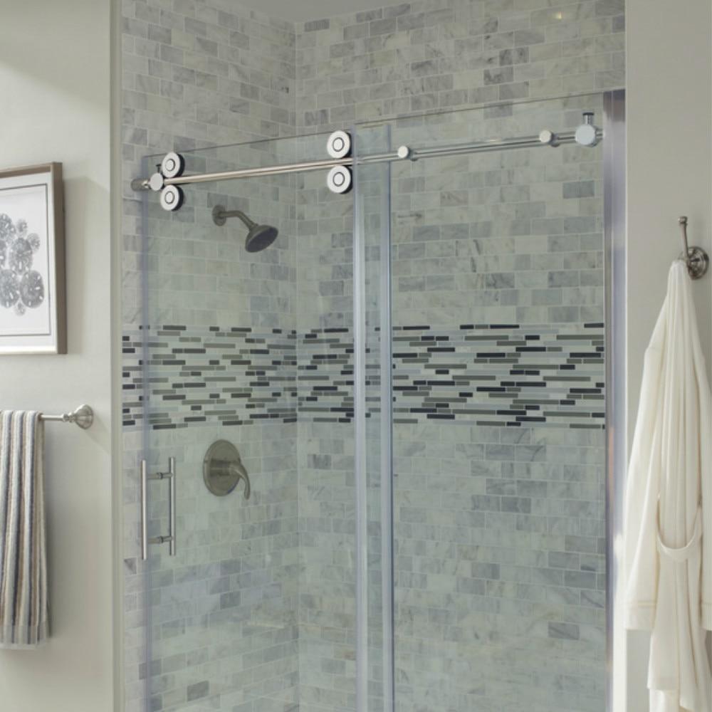5ft Chromed Polished Stainless Steel Sliding Barn Shower Door Twin