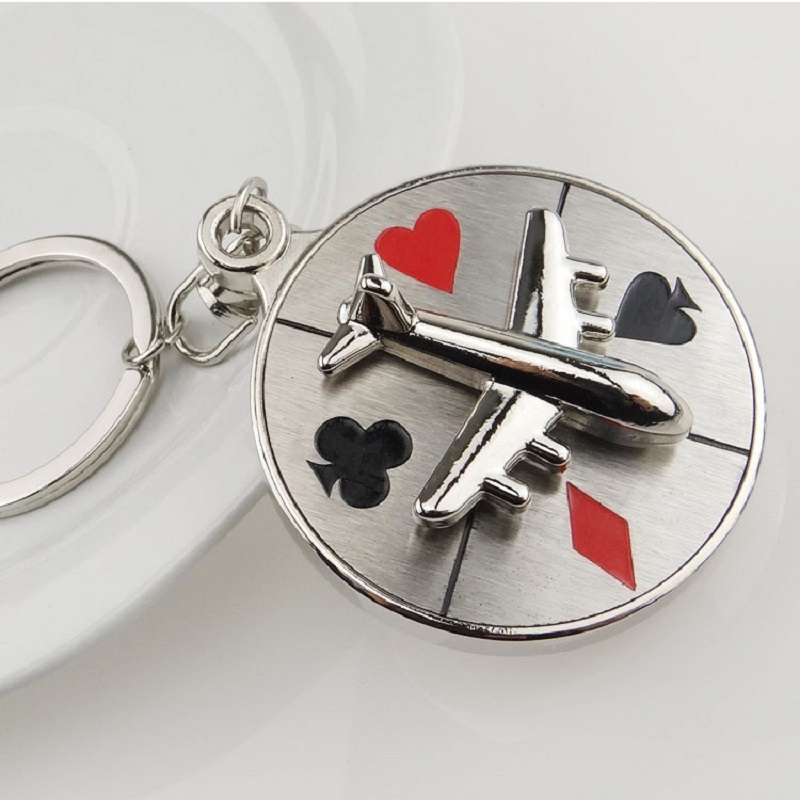 2019 New Poker Aircraft Airplane Turn Compass Keychain for Man Car keyrings Female Women's bags Pendants Accessories Men Jewelry image