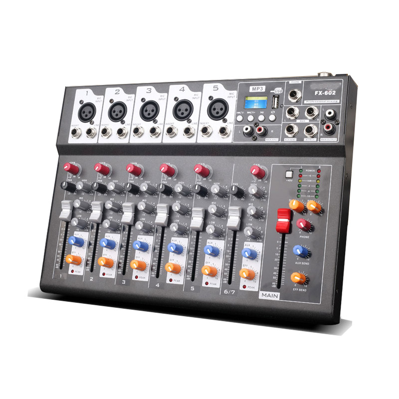 f7 usb mini audio mixer console with usb built in effect processor audio mixer 6 channel mixer. Black Bedroom Furniture Sets. Home Design Ideas