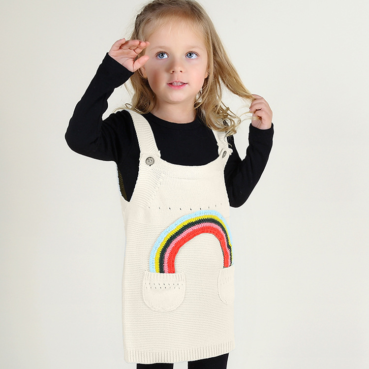 Hot Rushed Selling 2017 spring Autumn Baby Girls Rainbow Dress One-piece Knitted Jumper Kids Sweater Childrens Casual Dresses