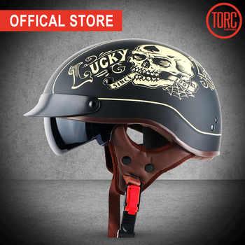 TORC T55 vintage moto rcycle casco dellannata di estate metà casco con interno visiera jet retro capacete casco moto DOT