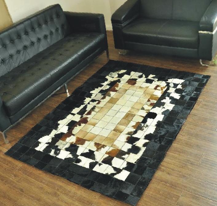 Fashionable art carpet 100% natural genuine cowhide leather carpet printingFashionable art carpet 100% natural genuine cowhide leather carpet printing