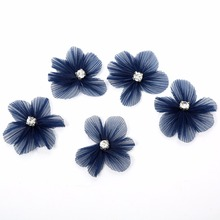200pcs/lot 8 Colors Chiffon Girl Hairclips Handmade Artificial Flower Matching Rhinestone Kids Headbands For Party DIY Craft