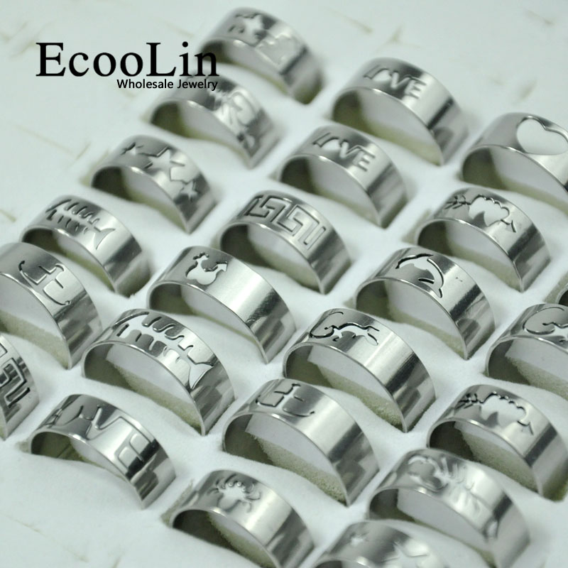 50Pcs Hot Sale Wholesale Mixed Lots Fashion Openwork Pattern Stainless Steel Rings For Men and Women Jewelry Bulks Packs LB117