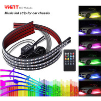 Car Led Strip Atmosphere Lights Music Sync 4 Pcs 58 For Exterior Rgb 5050 Decoration Lighting