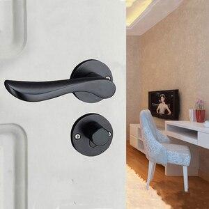 Image 5 - Bedroom Door Lock with door handle Black door lock Continental Wooden interior Door Handles Lock for home