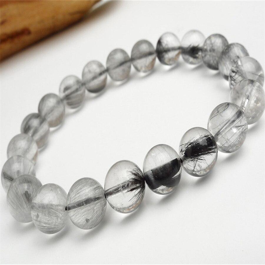 9mm Brazilian Natural Genuine Grey Needle Hair Rutilated Quartz Crystal Round Beads Fashion Jewelry Charm Stretch Bracelet