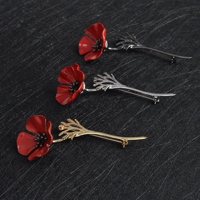 3D Vintage Fiori di Papavero Rosso Calamari Spilla Pin Collare Corpetto Oro Argento Nero Pin Distintivo Dell'annata Dei Monili del Regalo per delle donne