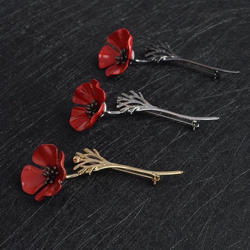 3D Винтаж красный цветок мака кальмар брошь на булавке для воротника корсаж золото серебристый, черный шпильки рубашка значок Винтаж украшения подарок для женщин