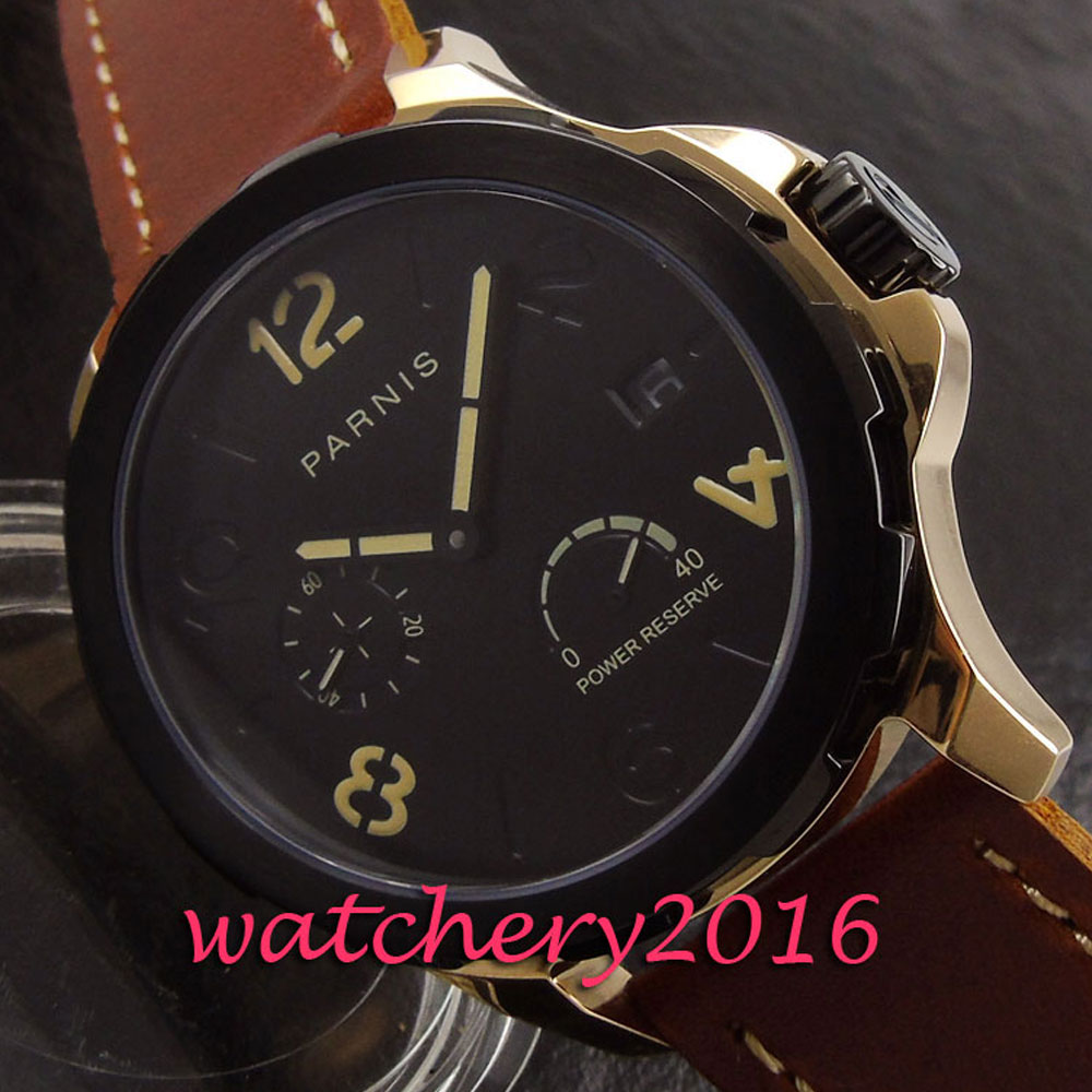 Fashion 44mm Parins black dial black case 2017 new mens watch automatic mechanical power reserve automatic Movement Men's watch miracle moment fashion stylelish mens womens unique hollowed out triangular dial black fashion watch ag3