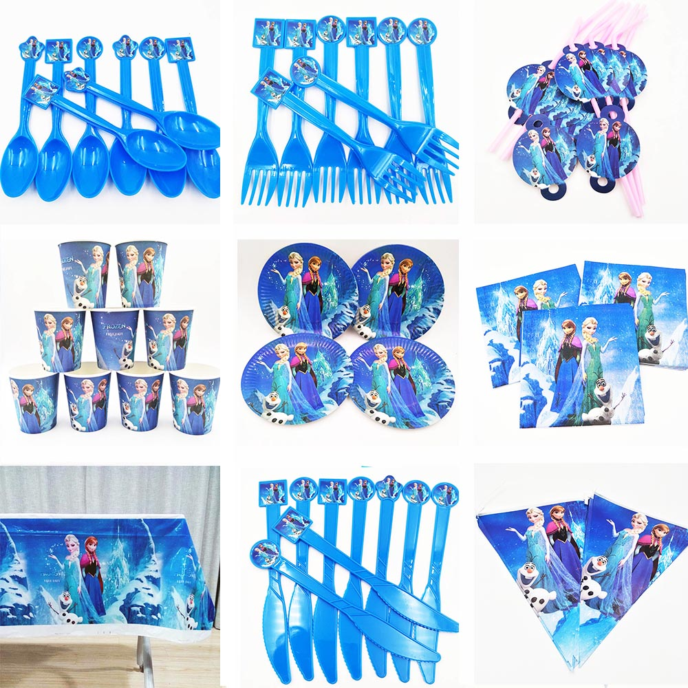 82pcs frozen Princess Anna Elsa Flags Tablecloth Straws Cups Plates And Other Party Supplies Kids Favor Birthday Decoration