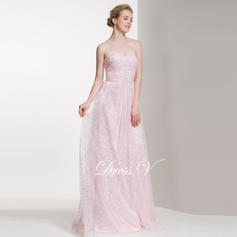 Dressv Pearl Pink Long A Line Bridesmaid Dress Sweetheart Pleats Sequins Off The Shoulder Wedding Party In Dresses From