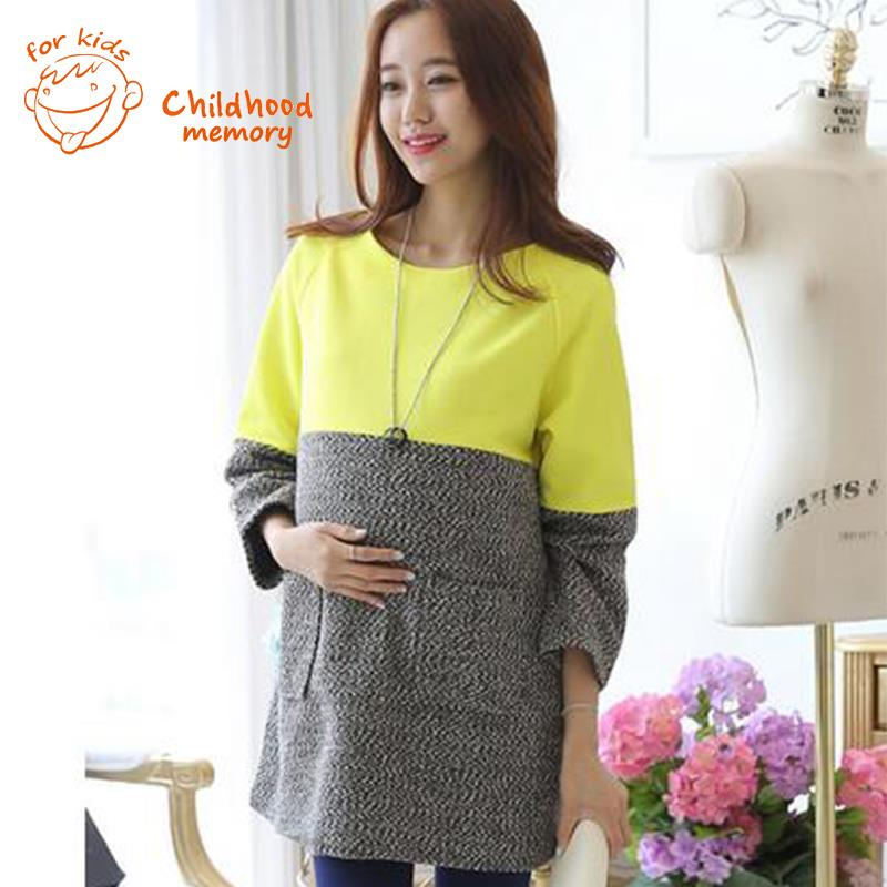 Maternity Woolen Dress Stripe Fashion Autumn Clothes For ...