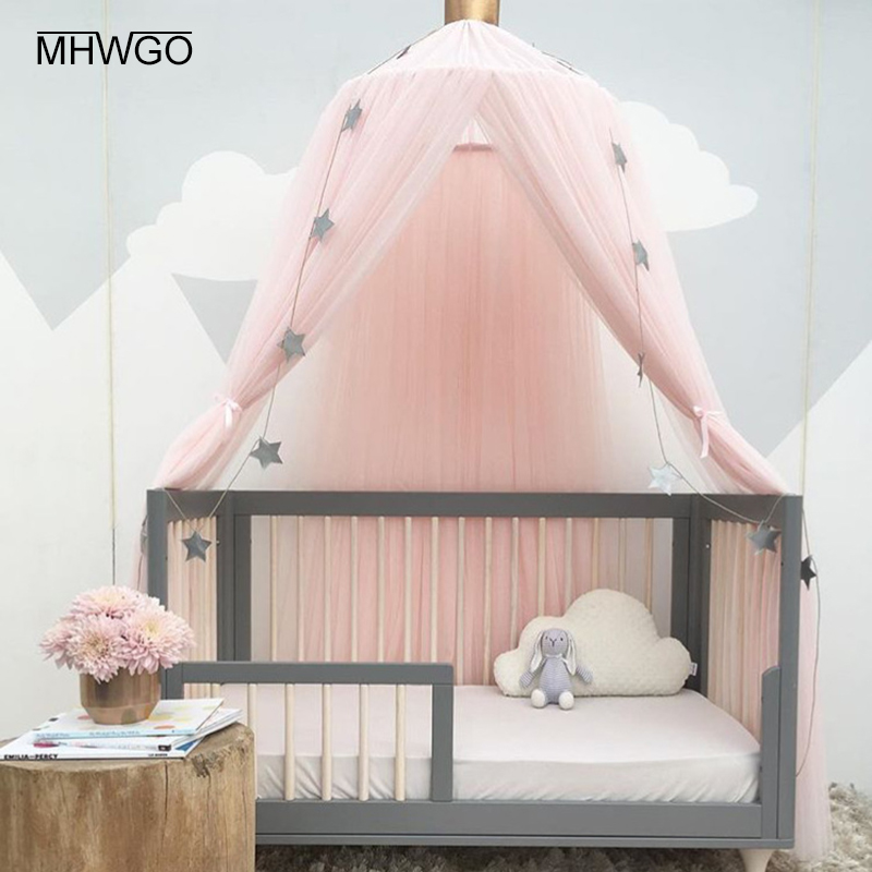 MHWGO Baby Bed Mosquito Net Baby Room Decoration Hanging Dome Mosquito Net Baby Crib Cover Baby Room Decor Bed Account 1PC цена