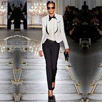 Черный и белый Бизнес костюмы Для женщин брюки костюм Slim Fit костюм куртки с брюками женские офисные формальные ПР брюки Повседневная обувь к